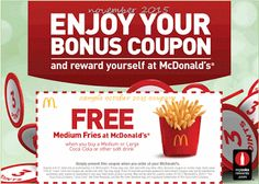 McDonalds coupons & McDonalds promo code inside The Coupons App. Medium french fry free with your drink at McDonalds April Mcdonalds Coupons, Kfc Coupons, Love Coupons, Grocery Coupons, Free Printable Coupons, Free Printables, Coupons For Boyfriend, Extreme Couponing, Coupon Organization