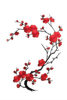 [Single Count ] Custom and Unique by 10 Inches) Mother Nature Quince Sakura Flower Iron On Embroidered Applique Patch {Redand Black} Cherry Blossom Art, Blossom Flower, Flower Art, Japanese Flowers, Japanese Art, Blossom Tree Tattoo, Art Japonais, Sakura, Purple Aesthetic