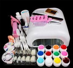 [Visit to Buy] Professional Full Set 12 colors UV Gel Kit Brush Nail Art Set + 36W Curing UV Lamp kit Dryer Curining Manicure Tools #Advertisement