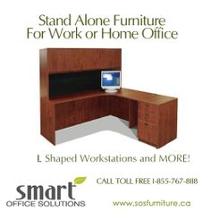 We have a wide selection of Free Standing Furniture & Casegoods from suppliers including Haworth, Steelcase, Knoll, Absolute and Herman Miller. Call today for a free consultation: 1-855-767-8118 www.sosfurniture.ca Smart Office, Home Office, New Furniture, Office Furniture, L Shape, Herman Miller, Custom Design, Desk, Free