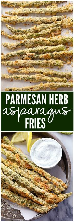 Asparagus that gets coated in a Parmesan Herb Panko and is baked to crispy and delicious perfection! The entire family will love them!