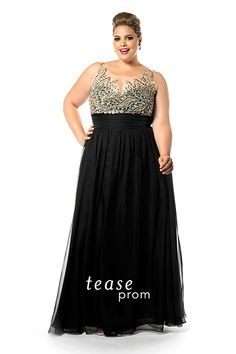 Look ravishing in this sexy plus size black #formal evening gown. You'll love the net bodice covered in waves of hand-sewn rhinestones and #beads. TE1509 has a flowing chiffon skirt that will move with you on the #dance floor.
