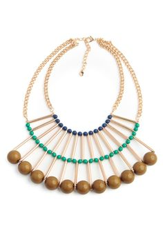 Large Tribal Bauble Necklace // great layered construction and the big beads are super-bold #jewelrydesign