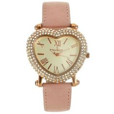 Peugeot Women's Leather Watch (£45) ❤ liked on Polyvore featuring jewelry, watches, pink, pink watches, leather watches, pink jewelry, peugeot watches and pink heart jewelry