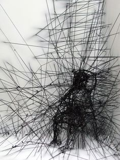 Hilos, threads by David Moreno, via Behance Wall Drawing, Line Drawing, Sculpture Projects, Sculpture Art, David Moreno, Modern Art, Contemporary Art, Art Nouveau, Charcoal Art