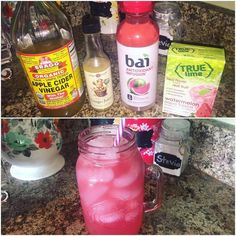 Oh my goodness this good girl moonshine tastes exactly like a liquid watermelon jolly rancher!!! Soooo good!! I used 2 Tbsp ACV 1Tbsp @the_ginger_people Ginger juice a @drinkbai Kula Watermelon antioxidant infusion and a Trulime Watermelon Aqua fresca packet. (I got the Bai and the ACV at my Wal Mart the Trulime at Publix and the ginger juice at my local health food store) Stir well. Add ice to the tippy top of the 1qt jar. It has 15 calories and 2 grams of sugar total but wow is it good!...
