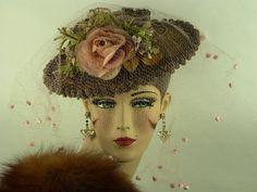 VINTAGE HAT 1930s GERMAINE MONTERBERT TILT, STRAW BOATER, PINK ROSES & VEIL #GermaineMonterbert #StrawBoater #VintageWeddingRacesOccasion