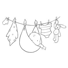 Embroidery Pattern of  Baby on Clothesline from HobbyArtStamps.com. jwt