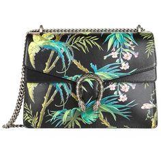 Gucci Dionysus Tropical Print Shoulder Bag ($2,235) ❤ liked on Polyvore featuring bags, handbags, shoulder bags, gucci purses, gucci shoulder bag, handbags shoulder bags, floral handbags and structured handbag