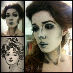 This is awesome! Halloween makeup: GIBSON GIRL DRAWING by Kiridescence. Tag your pics with and on Sephora's Beauty Board for a chance to be featured! Maquillage Halloween, Halloween Makeup, Halloween Cosplay, Cosplay Makeup, Costume Makeup, Theatre Makeup, Theatrical Makeup, Gibson Girl, Statue