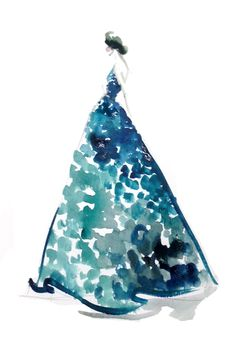 Beautiful turquoise gown in water color