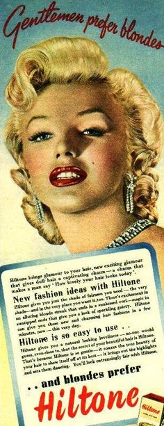 Marilyn Monroe in an advertisement for Hiltone hair color.