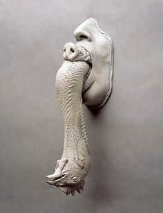Nicola constantino- Trilogía de bocas, Calco del natural de pollo, cerdo y boca humana
