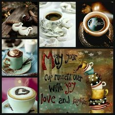 Nanina Xxx on ArenaXtreme! Word Collage, Color Collage, I Love Coffee, My Coffee, Tea Puns, Collages, Evening Greetings, Happy Everything, Good Morning Coffee