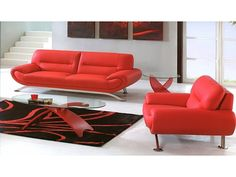 Leather Sofa And Loveseat, Sofa And Loveseat Set, Sectional Sofa, Unique Sofas, Interior Design Photos, Best Sofa, Cool Furniture, Red Leather