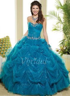 Quinceanera Dresses - $199.99 - Ball-Gown Sweetheart Floor-Length Tulle Quinceanera Dress (02105024789)
