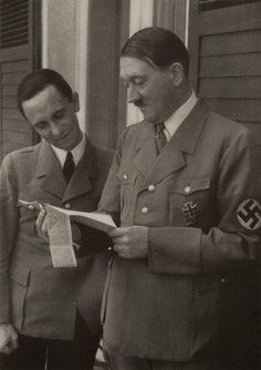Joseph Goebbels  and Adolf Hitler.