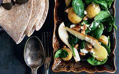 Wraps med stegte kartofler, spinat og gedeost
