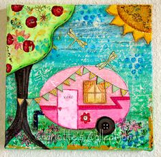 Rosa Trailer Love Shack Original Mischtechnik 10 x 10-Leinwand by CharlottesCollection on Etsy