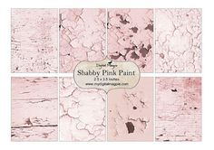 Shabby Pink Paint background papers.    Each image measures approx 3.75 x 5.75 inches    Sheet is 8.5 x 11 - A4    High resolution 300dpi JPEG file