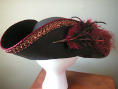 Pirate hat bicorn style brown with burgundy/gold by HatsByViolette, $95.00