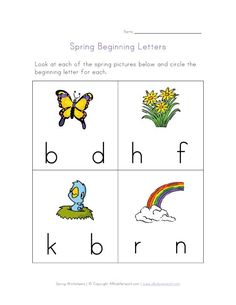 Spring Beginning Letters Worksheet. Repinned by SOS Inc. Resources. Follow all our boards at pinterest.com/sostherapy for therapy resources.