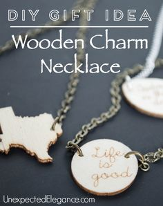Need a great handmade and inexpensive gift idea? Check out this 10 Minute DIY wooden charm necklace tutorial. Great for a personalized gift.