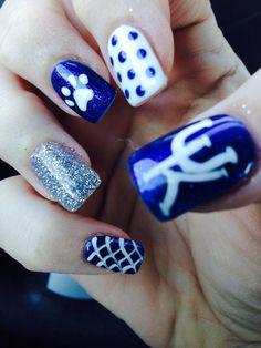 Awesome nails from a dedicated fan! Basketball Nails, Uk Basketball, All Things Beauty, Beauty Tips, Beauty Hacks, Fan Nails, Royal Blue Nails, Self Nail, Colorful Nail Art