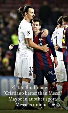 Zlatan Ibrahimovic showing respect to Lionel Messi Messi Neymar, Messi Vs Ronaldo, Messi Soccer, Soccer Memes, Soccer Boys, Cristiano Ronaldo, Funny Soccer, Soccer Stuff, Messi 10