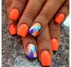 42 Charming red Nail Art Designs To Try This summer nails;summernails Attractive Acrylic Nail Art Designs Trends & Ideas 2019 (Coffin nails & Stiletto n Orange Nail Designs, Cute Summer Nail Designs, Cute Summer Nails, Toe Nail Designs, Acrylic Nail Designs, Nail Summer, Summer Shellac Nails, Pedicure Designs, Bright Summer Nails
