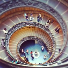 spiral staircase at Vatican museum