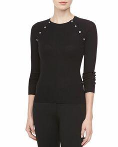 Button-Shoulder Cashmere Top, Black  by Michael Kors at Neiman Marcus.