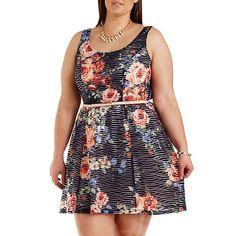 Plus Size Floral Sheer-Striped Skater Dress: Charlotte Russe