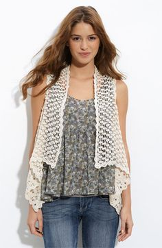 h.i.p. Chunky Crochet Vest (Juniors) available at Nordstrom