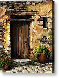 Mediterranean Portal Acrylic Print by Emerico Imre Toth. All acrylic prints are professionally printed, packaged, and shipped within 3 - 4 business days and delivered ready-to-hang on your wall. Choose from multiple sizes and mounting options. Building Painting, Art Watercolor, Canvas Art, Canvas Prints, Old Doors, Cool Paintings, Painting Techniques, Painting Inspiration, Flower Art