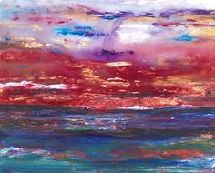 ARTFINDER: WINTER SUNSET by ALICIA MIRAMBELL - Acrylic on gallery wrap canvas. Original painting.  Layered with colours, palette knife, gold.  Winter by the sea site, sunset. Ready to hang