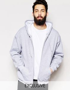 """Hoodie by Reclaimed Vintage Fleece-back sweat Drawstring hood Zip opening Side slant pockets Ribbed trims Regular fit - true to size Machine wash 50% Cotton, 50% Polyester Our model wears a size Medium and is 181cm/5'11.5"""" tall"""