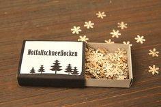 Notfallschneeflocken u weitere kl Geschenk/Verpackungsideen: