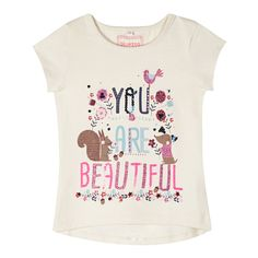 bluezoo Girl's natural 'Beautiful' print t-shirt Kids Girls Tops, Girls Tees, Shirts For Girls, Little Girl Fashion, Toddler Fashion, Kids Fashion, Graphic Shirts, Printed Shirts, Dress Logo