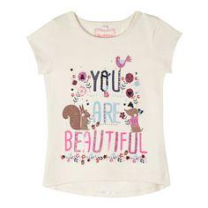 bluezoo Girl's natural 'Beautiful' print t-shirt Kids Girls Tops, Girls Tees, Shirts For Girls, Little Girl Fashion, Toddler Fashion, Kids Fashion, Graphic Shirts, Printed Shirts, Girl Trends