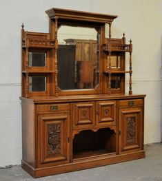 Edwardian Oak Sideboard Mirror Chiffonier Dresser Antique Delivery Available