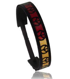 Bracelet Cuir Peace Jamaique Motif Noir