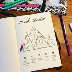 Bullet journal monthly mood tracker, mountain drawings. | @catjascasal