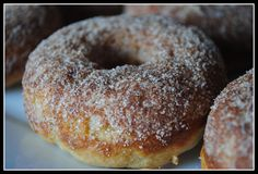 maple cinnamon sugar baked doughnuts - uses 1 egg, not a lot of sugar, and greek yogurt - jasper and harold really liked to infinity - double recipe