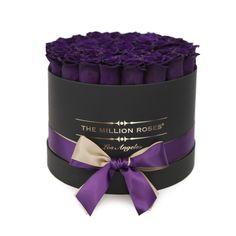 Medium Round Box Black Dark Purple Eternity Roses The Million