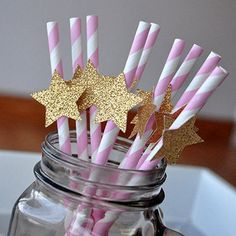 Pink & Gold Star Paper Party Straws - ships in 1-3 business days - Twinkle Twinkle Little Star Party Decorations - 10CT.