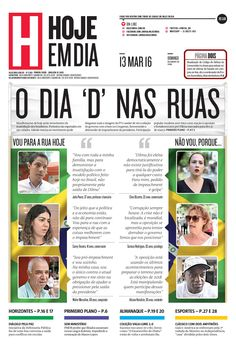 Capa do dia 13/03/2016 #HojeEmDia #Jornal #Notícias #News #Newspaper