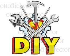 HANDYMAN DIY Vector CLIPART, do it yourself tools eps, ai, cdr, png, jpg, handy, mechanic equipment - hammer, wrench, screwdriver by ottoflickvector on Etsy