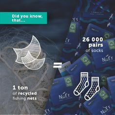 Did you know that from 1 ton of recycled #fishingnets you can make over 26 000 pairs of #socks?  #recycling #fishing #nets