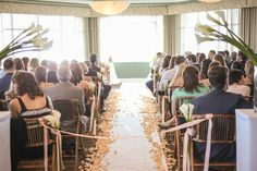 Isla Del Sol Yacht and Country Club, St Petersburg, FL, Ceremony Set Up, Rose Petals, Indoor Ceremony, Iza's Flowers, Inc.
